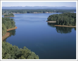 View of Lake Keowee looking North to the Blue Ridge